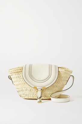 Chloé Marcie Leather-trimmed Raffia Shoulder Bag - White