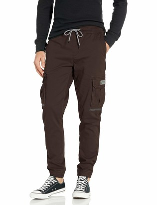 UNIONBAY Men's Elastic Waist Stretch Twill Relaxed Fit Cargo Jogger Pants