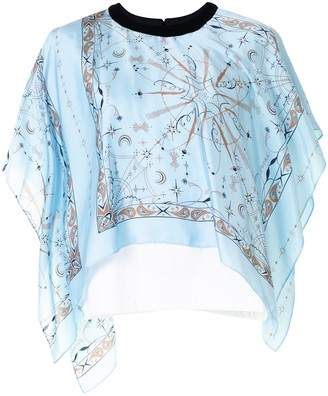 Sacai paisley print layered T-shirt