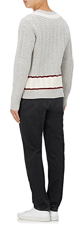 Tomas Maier MEN'S STRIPED WOOL V-NECK SWEATER