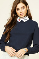 Forever 21 FOREVER 21+ Graphic Collar Sweater