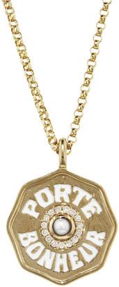 Marlo Laz Mini Diamond, Pearl and White Enamel Porte Bonheur Coin Necklace - Yellow Gold