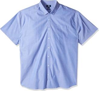 Cutter & Buck Men's Big & Tall Short Sleeve Strive Three Bars Jacquard Button Up Shirt