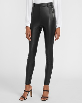 Express High Waisted Vegan Leather Zip Front Leggings