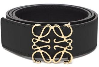 Loewe Anagram-buckle Leather Belt - Womens - Black