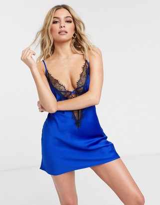 Ann Summers Cherryann lace trim satin chemise in cobalt