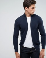 Solid Knitted Zip Up Jacket In Texture