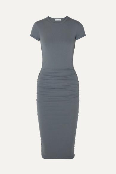 James Perse Draped Stretch-cotton Jersey Midi Dress - Gray