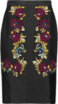 Temperley London Berge embroidered satin skirt