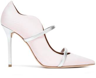 Malone Souliers Maureen Metallic Leather-trimmed Moire Pumps