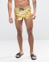 Asos Swim Shorts In Metallic Gold With Extreme Side Split