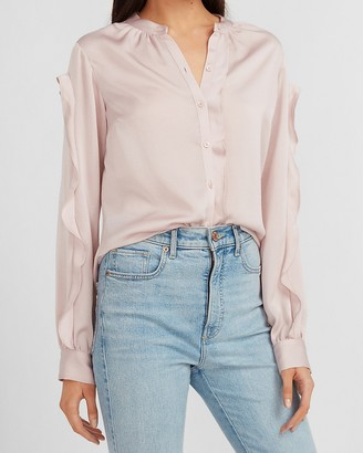 Express Ruffle Sleeve Button-Up Shirt