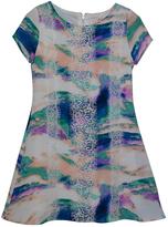 Sequin Hearts Ivory & Blue Tie-Dye Lace-Trim A-Line Dress - Girls