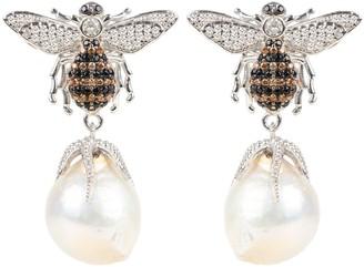 Latelita Baroque Pearl Bee Drop Earring Silver