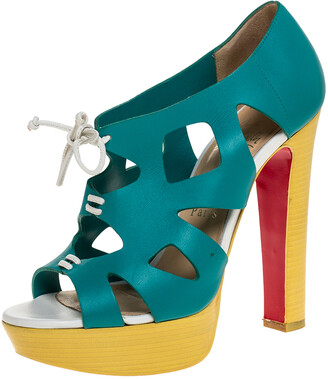 Christian Louboutin Turquoise/Yellow Leather Cutout Fossile Platform Pumps Size 36.5