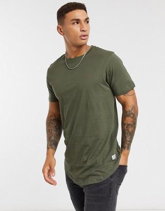 Jack and Jones Essentials longline t-shirt with curve hem in navy