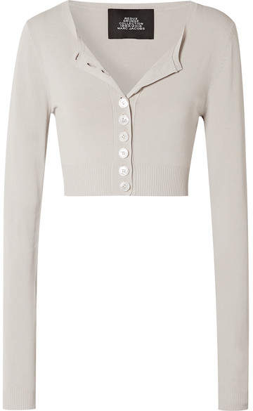 Marc Jacobs Cropped Knitted Cardigan - Cream