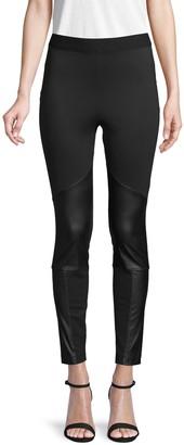 BCBGMAXAZRIA Faux Leather-Trimmed High-Rise Leggings