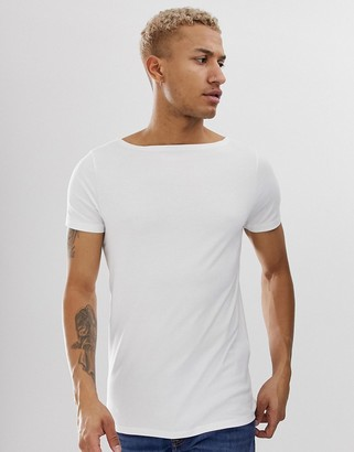 Asos Design DESIGN relaxed t-shirt with boat neck in white