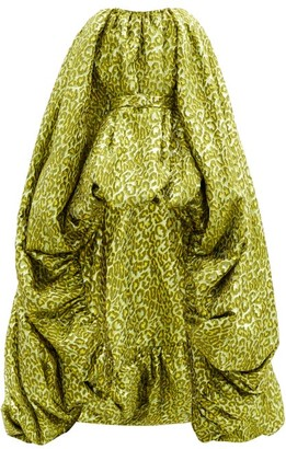 Halpern Cape Bubble-hem Leopard-brocade Gown - Green