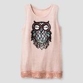 Miss Chievous Girls' Tank with Sequin Owl Applique - Peach Parfait