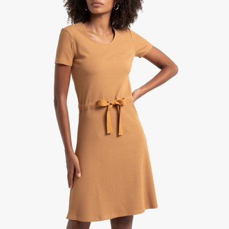 La Redoute Collections Knitted Mini Dress with Drawstring Waist and Short Sleeves