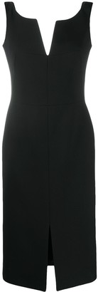 Alexander McQueen Slot Neckline Midi Dress