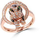 Effy 14K Rose Gold 0.47ct Diamond and 0.02ct Tsavorite Ring
