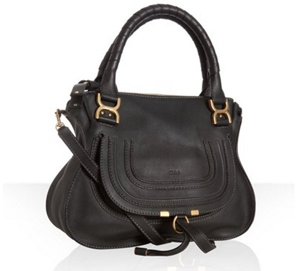 Chloé black leather 'Marcie' convertible tote