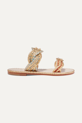 Christian Louboutin Normandie Studded Braided Rope And Metallic Leather Sandals - Gold