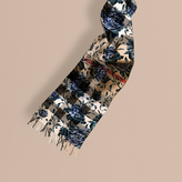 Burberry Reversible Floral Print and Check Cashmere Scarf