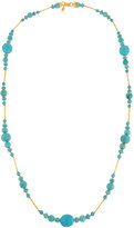 Jose & Maria Barrera Long Reconstituted Turquoise Beaded Necklace