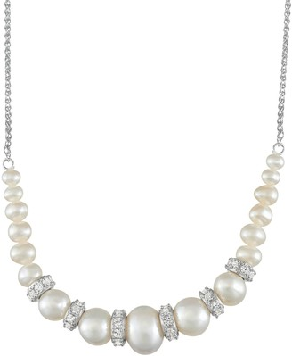 Sterling Silver Freshwater Cultured Pearl Graduated Necklace