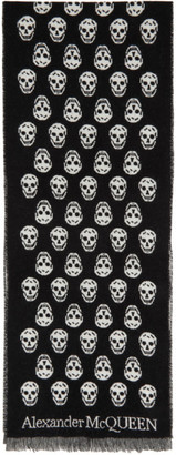 Alexander McQueen Black and White Wool Skull Scarf