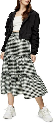 Topshop Gingham Check Tiered Skirt