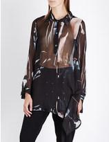 Ann Demeulemeester Drape-detail silk-chiffon shirt