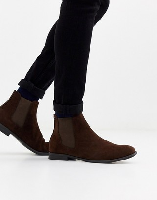 Jack and Jones faux suede chelsea boots in brown