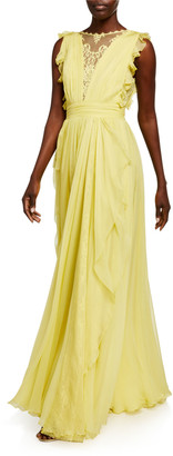 ZUHAIR MURAD V-Neck Sleeveless Silk Ruffle Gown