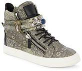 Giuseppe Zanotti Lizard-Embossed Leather High-Top Sneakers
