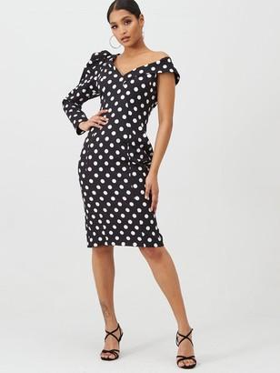 Lavish Alice Statement Shoulder Midi Dress - Black Spot