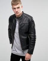 Pepe Jeans Pepe Paul Slim Leather Biker Jacket
