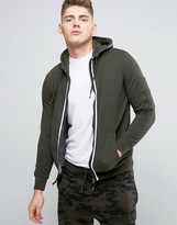 Brave Soul Tapped Zip Through Pique Hoodie