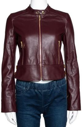 Dolce & Gabbana Burgundy Leather Biker Jacket IT 38