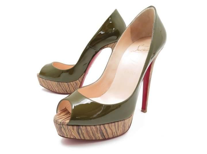 Christian Louboutin Khaki Patent leather Heels