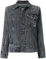 Filles a papa crystal-embellished frayed denim jacket