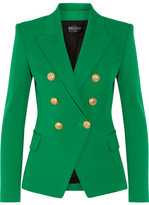 Balmain Double-breasted Cotton And Modal-blend Blazer - Green