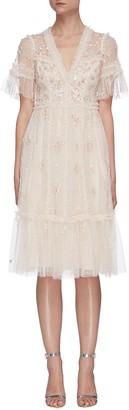 Needle & Thread Penelope Shimmer sequin embellished short sleeve tulle midi dress