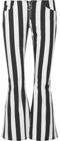 Marques Almeida Marques' Almeida - Cropped Striped Cotton-poplin Flared Pants - Black