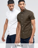 Asos Skinny Oxford 2 Pack In White And Khaki With Short Sleeves