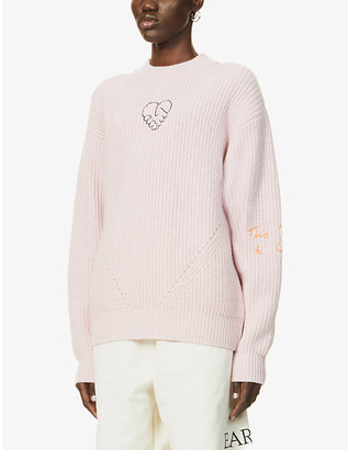 McQ Genesis II embroidered wool and cashmere-blend jumper